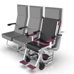 A row of airplane seats and a wheelchair that is put next to them.